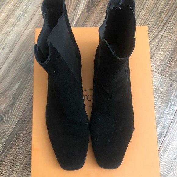 TOD'S Quinn Guaina Beatles Black Suede Boots